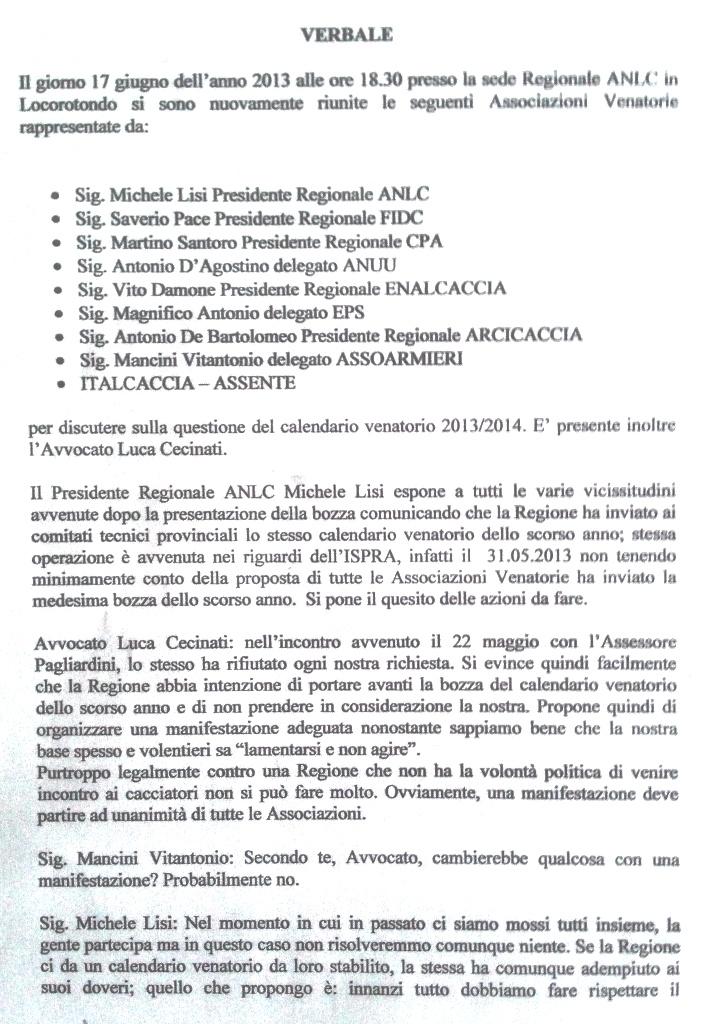 Regione Puglia Calendario Venatorio.Verbale Riunione Associazioni Venatorie Puglia Calendario
