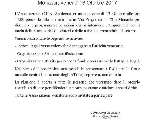 Assemblea dei Cacciatori – Monastir 13/10/2017