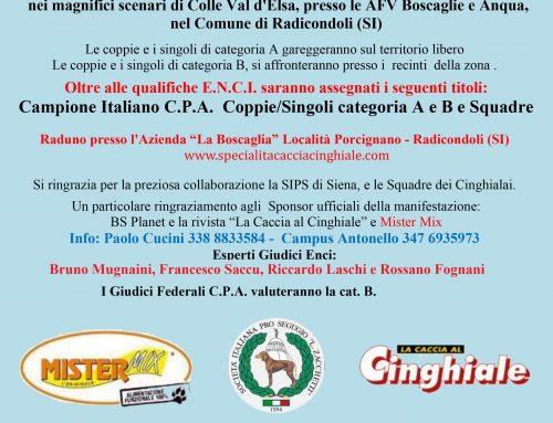 9° CAMPIONATO ITALIANO C.P.A. PER CANI DA SEGUITA SU CINGHIALE E 2° TROFEO DEI C.A.C. – COLLE VAL D'ELSA (SI), 25/26/27 MAGGIO 2018