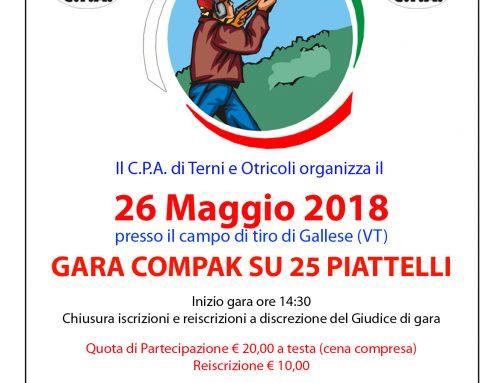 GARA COMPAK SU 25 PIATTELLI – 26/05/2017 – GALLESE (VT)