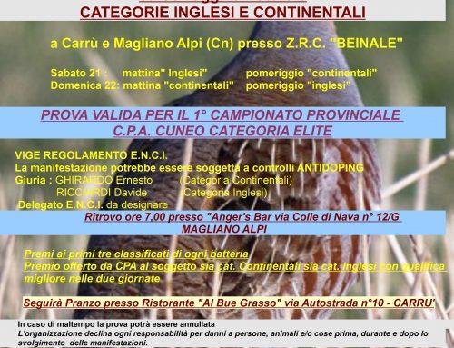 PROVA PER CANI DA FERMA CON C.A.C. – 21/22 MARZO 2020 – CARRU' E MAGLIANO ALPI (CN)