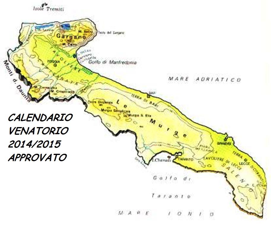 Regione Puglia Calendario Venatorio.Puglia Calendario Venatorio 2014 2015 Approvato In Giunta