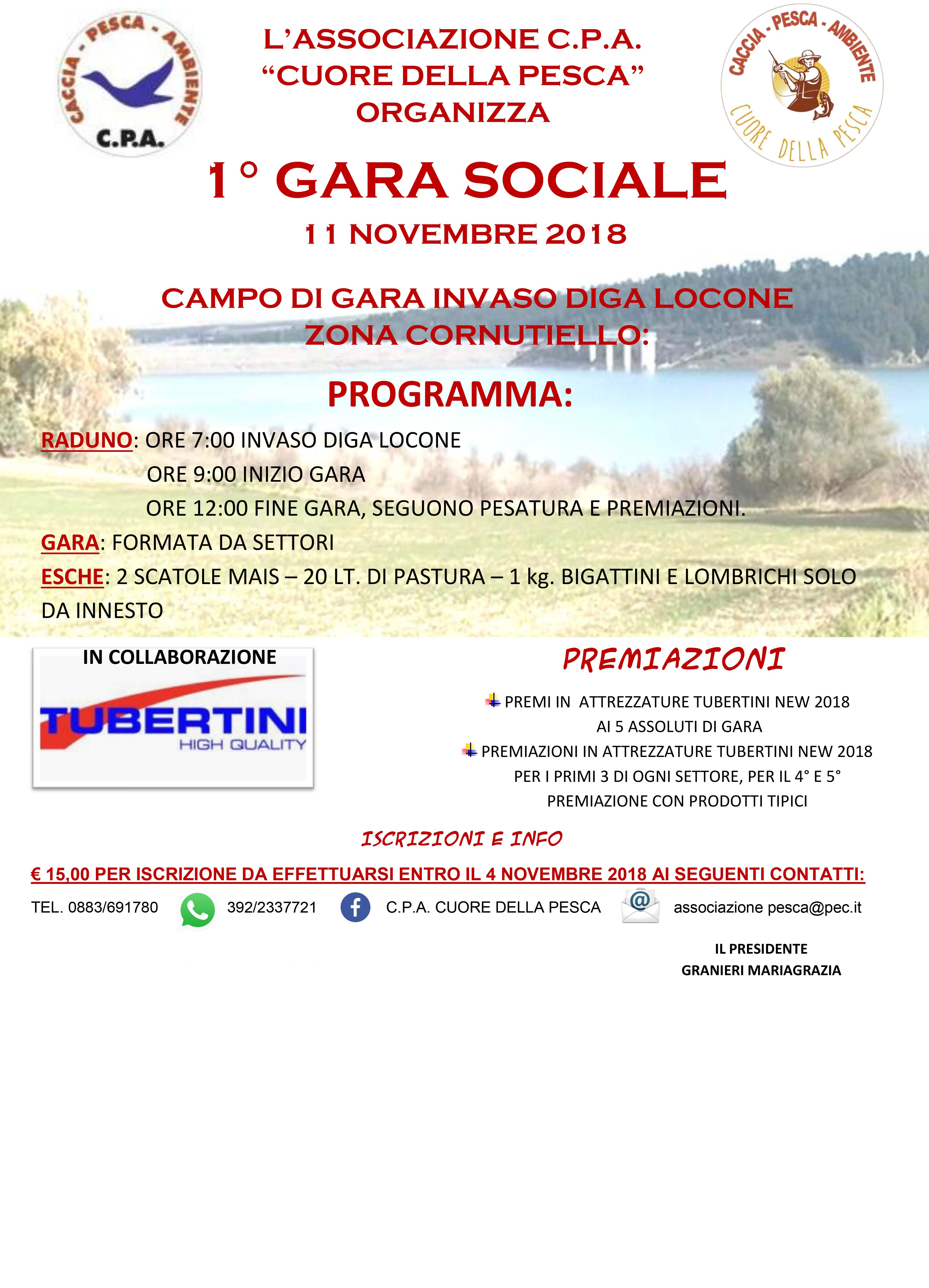 1° GARA SOCIALE – 11 NOVEMBRE 2018 – CAMPO DI GARA INVASO DIGA LOCONE (BT)