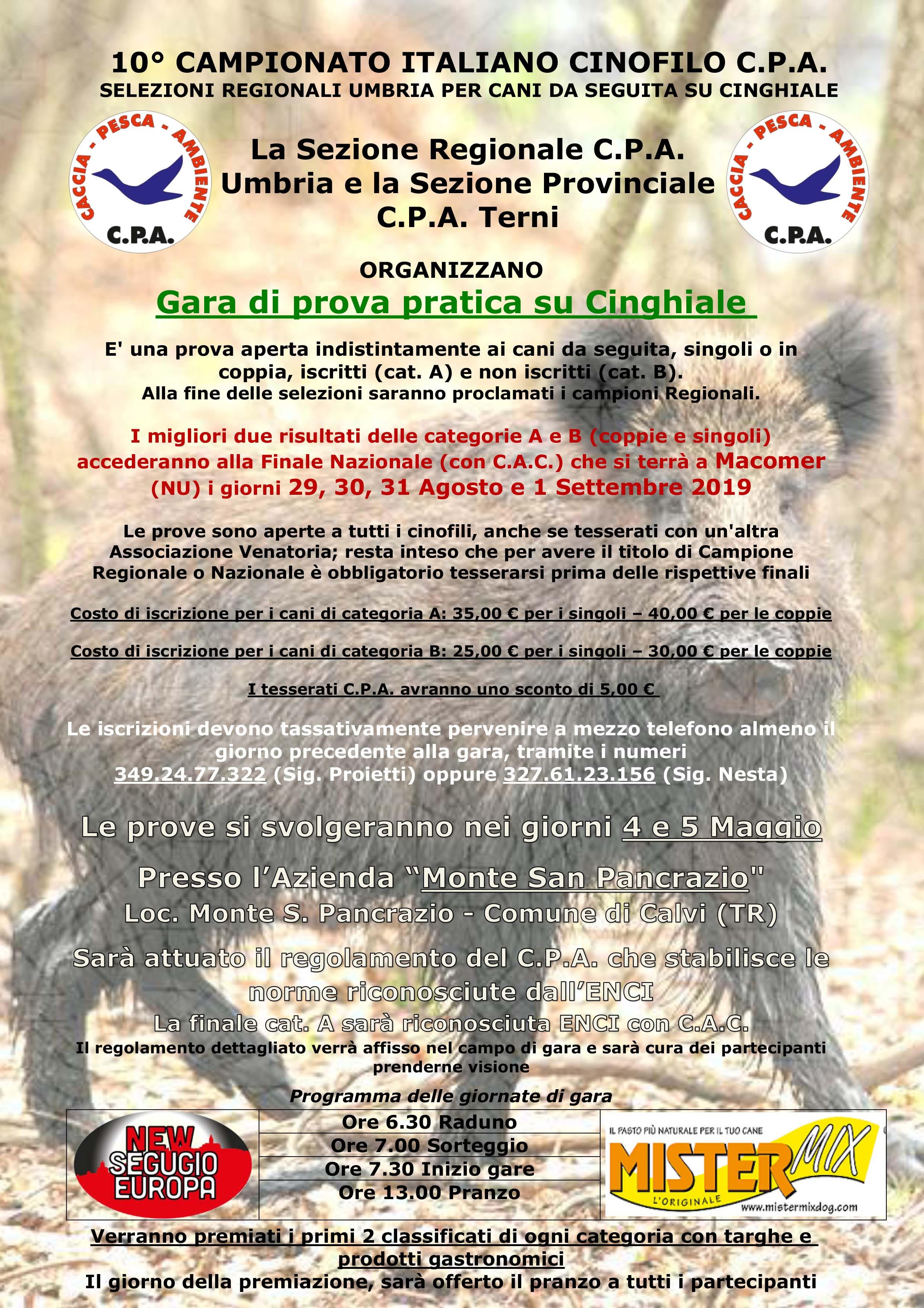 SELEZIONI REGIONALI UMBRIA PER CANI DA SEGUITA SU CINGHIALE – 10° CAMPIONATO ITALIANO CINOFILO C.P.A.