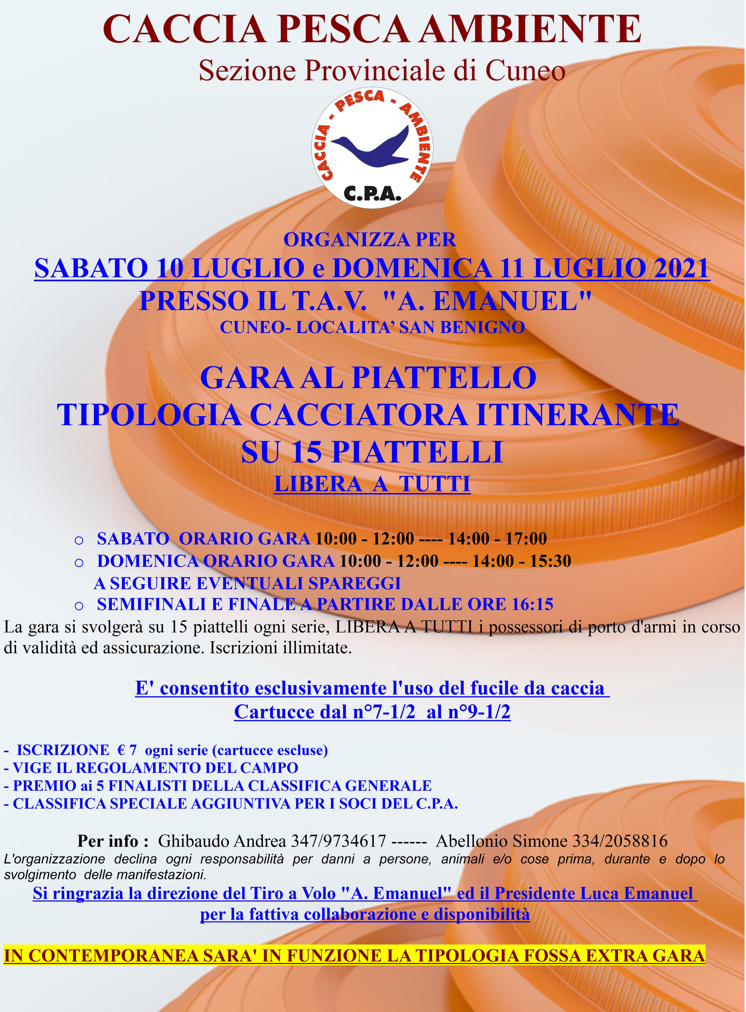 "GARA AL PIATTELLO – 10/11 LUGLIO 2021 – TAV ""A. EMANUEL"" LOC. S. BENIGNO (CUNEO)"