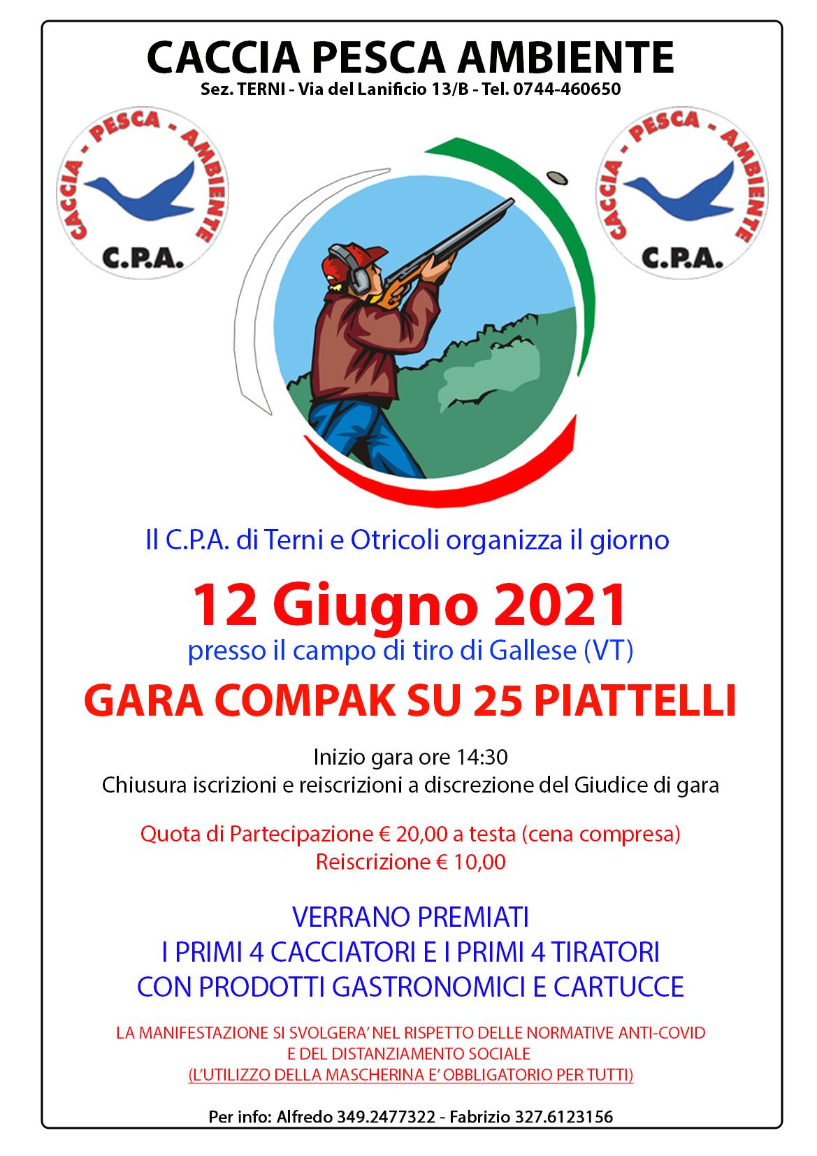 GARA COMPAK SU 25 PIATTELLI – 12 GIUGNO 2021 – CAMPO DI TIRO DI GALLESE (VT)